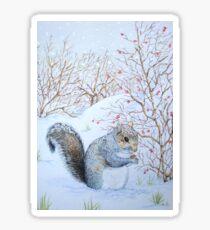 Cute grey squirrel snow scene wildlife art  Sticker