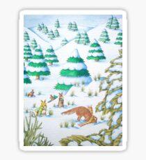 cute fox and rabbits christmas snow scene Sticker