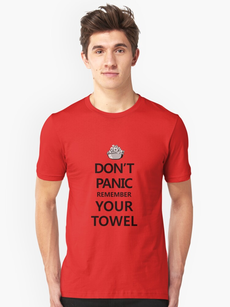 Alternate view of DON'T PANIC! Again... Slim Fit T-Shirt