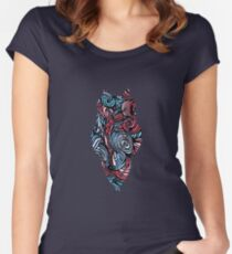 Owl Mosaic Sky Blue / Red Women's Fitted Scoop T-Shirt