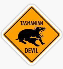 Tasmanian Devil Yellow Diamond Warning Sign Die Cut Sticker Sticker