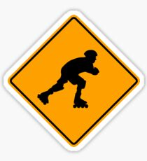 Inline Skater Yellow Diamond Warning Sign Sticker