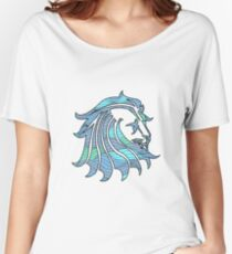 Lion Stripes Blue / Green  Women's Relaxed Fit T-Shirt