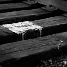 White paint spill on railroad track, Franklin, Ohio by Jason Franklin