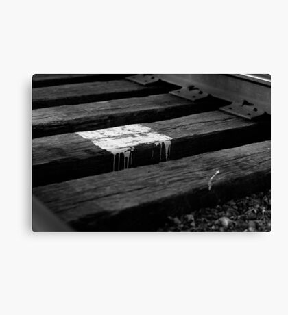 White paint spill on railroad track, Franklin, Ohio Canvas Print