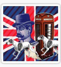 vintage mustache men british hunt dog Union jack Sticker