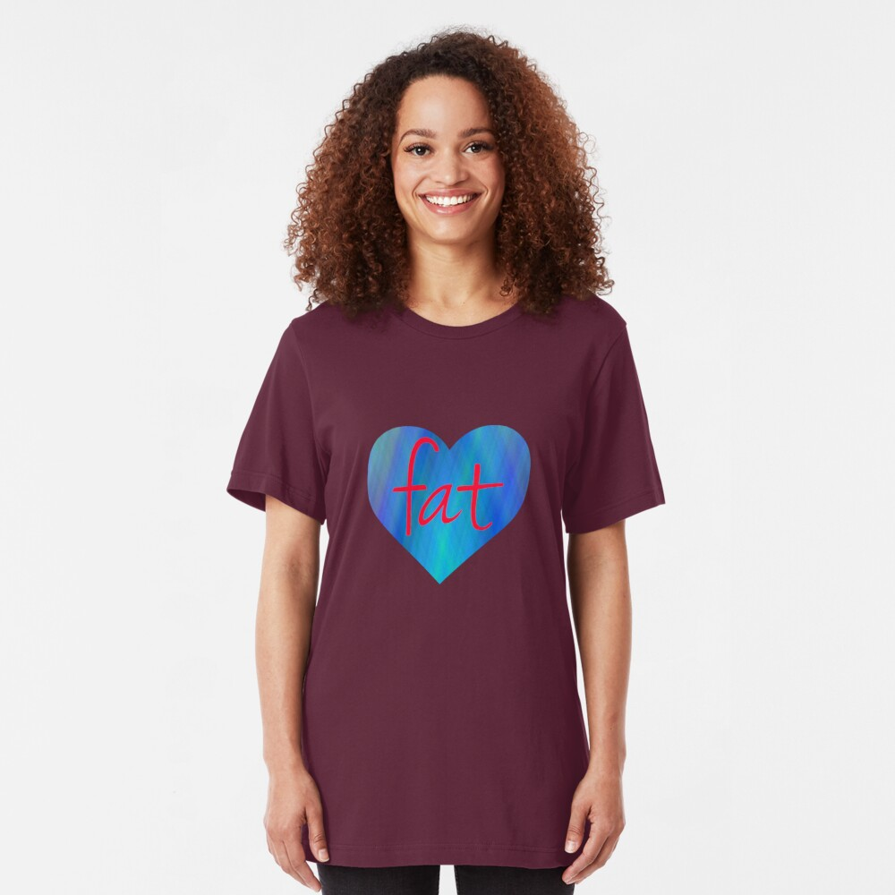 Love Fat (Blue and Red) Slim Fit T-Shirt