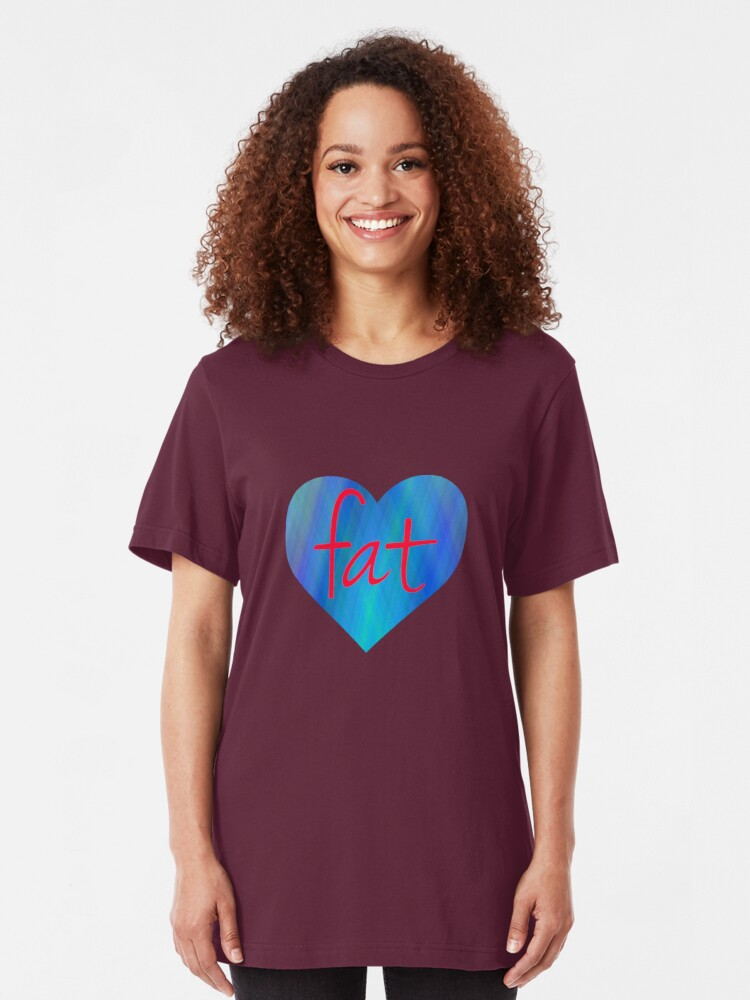 Alternate view of Love Fat (Blue and Red) Slim Fit T-Shirt