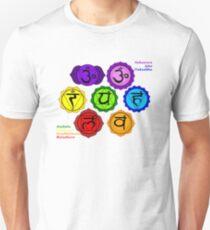 YOGA REIKI PLAIN SEVEN CHAKRAS SYMBOLS LABELED. T-Shirt