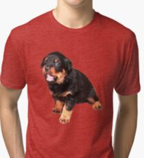 Cute Rottweiler Puppy With Cheeky Expression Tri-blend T-Shirt