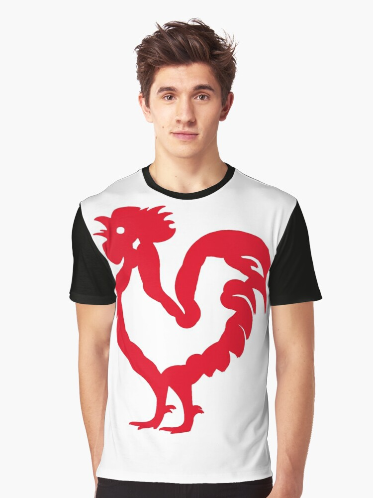 Rooster on Fire Volcano Red  Graphic T-Shirt Front