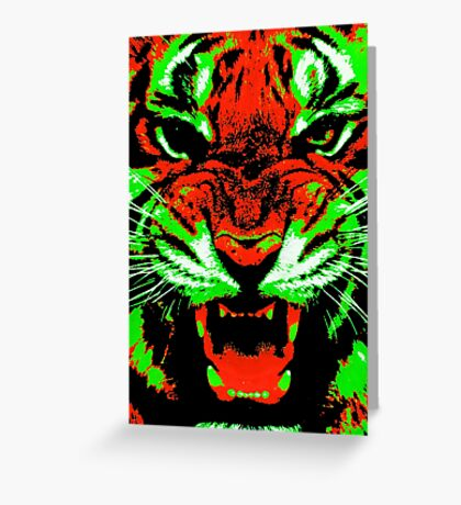 Pop Art Tiger Greeting Card