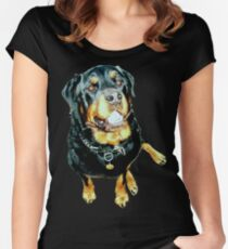 Male Rottweiler Photo Portrait Women's Fitted Scoop T-Shirt