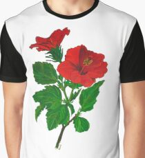 A Red Hibiscus Flower Isolated On White Background Graphic T-Shirt