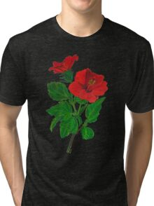 A Red Hibiscus Flower Isolated On White Background Tri-blend T-Shirt