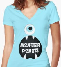 Monster Donut Women's Fitted V-Neck T-Shirt
