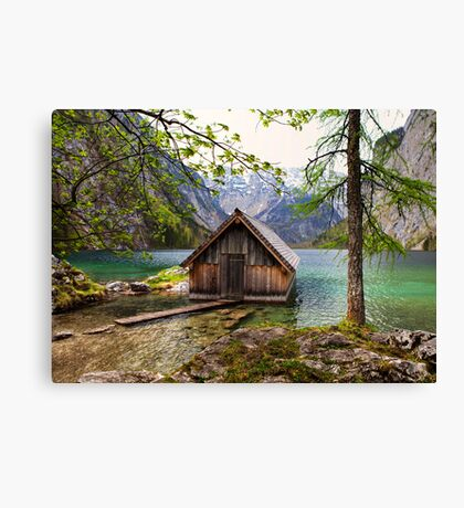 Framed boathouse Canvas Print