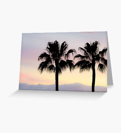 Palm trees at sunrise Greeting Card