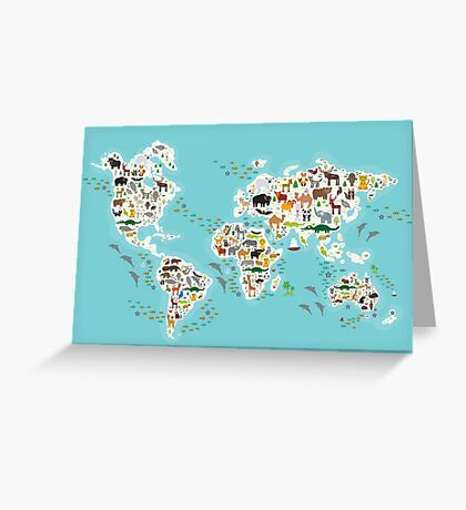 Cartoon animal world map for children Greeting Card
