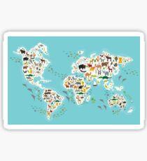 Cartoon animal world map for children Sticker