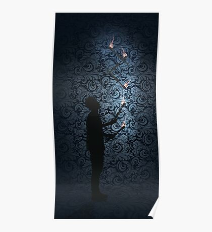 Juggling Torches Silhouette Poster