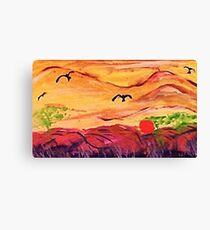 Cloudy landscape, watercolor Canvas Print