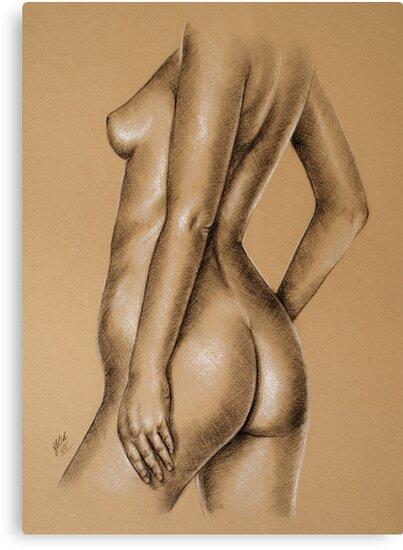Charcoal nude female #9 by Sarah  Mac
