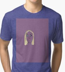 Purple Girl with Yellow Hair Tri-blend T-Shirt