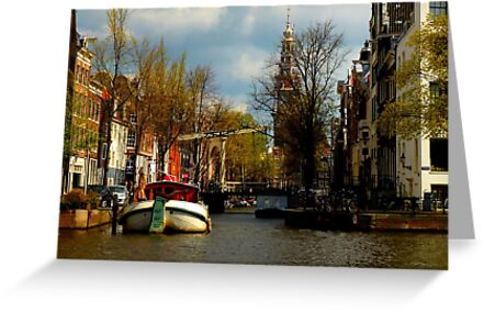 a canal in Amsterdam, Holland by supergold