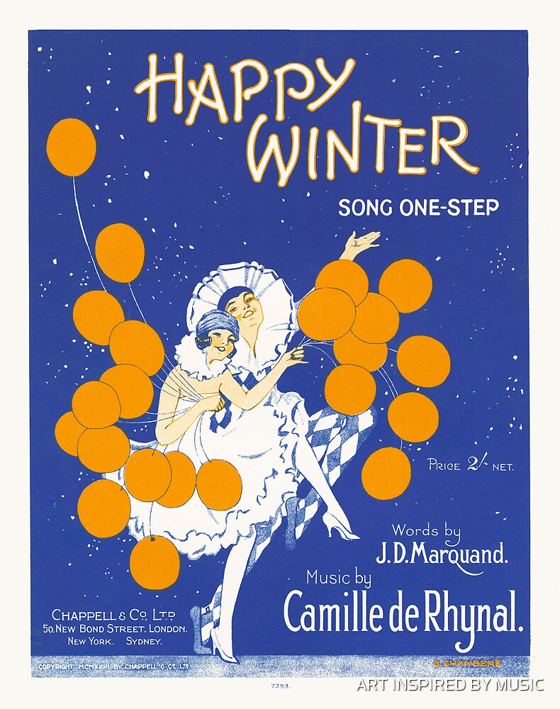 HAPPY WINTER (vintage illustartion)  by ART INSPIRED BY MUSIC