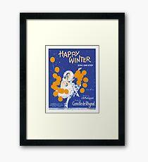 HAPPY WINTER (vintage illustartion)  Framed Print
