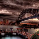 Sunset Sydney Harbour Bridge- VIVID Festival  by Andrew  MCKENZIE