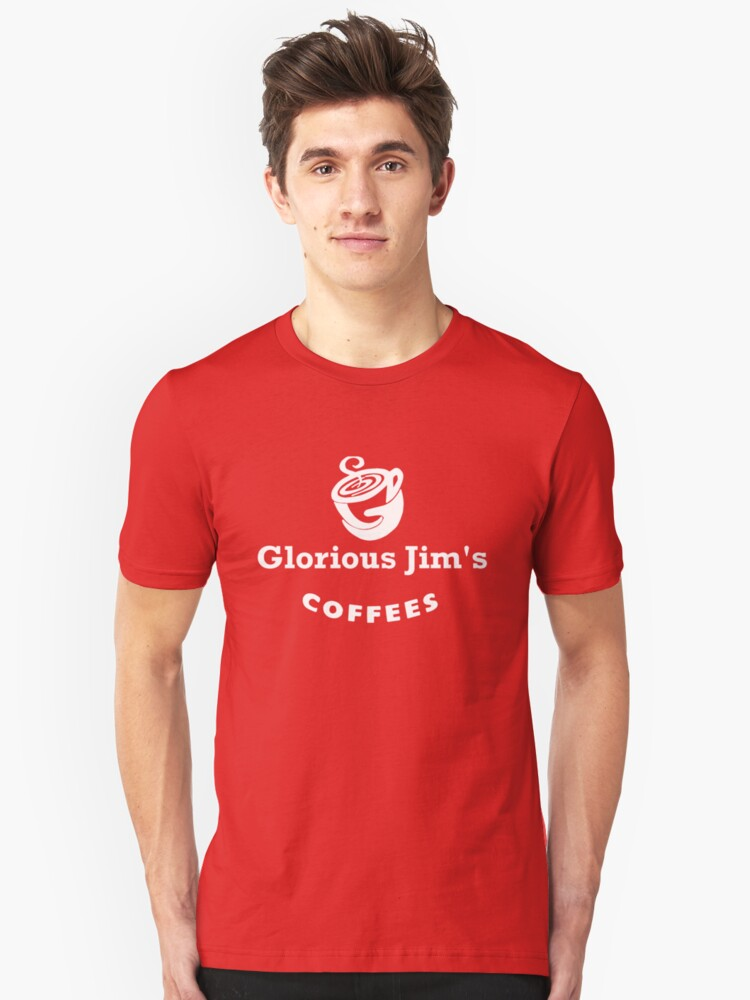 glorious jim's coffees t-shirt by ralphyboy