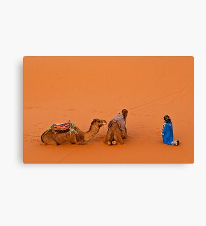 Morning pray at Erg Chebbi on edge of the Sahara Canvas Print