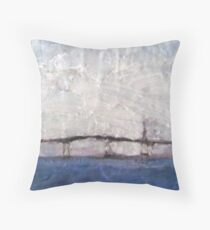 Hathaway Bridge on Foggy Day Throw Pillow