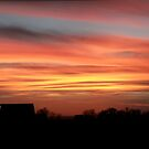 Barn Silhouette on a Layered Sunset by madeinsask