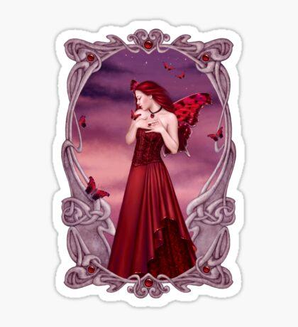 Garnet Birthstone Fairy Sticker