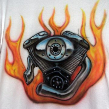 V Twin Airbrushed Shirt by leetwigger
