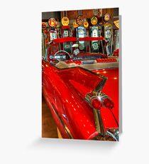 1959 Cadillac At The Pumps Greeting Card