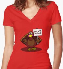 Down With Christmas Women's Fitted V-Neck T-Shirt