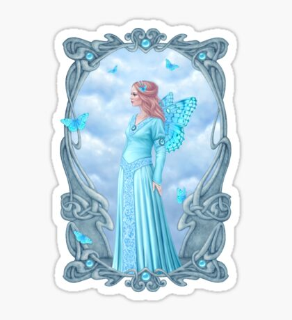 Aquamarine Birthstone Fairy Sticker