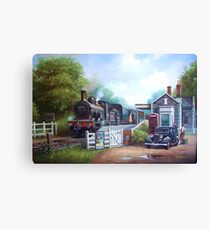 Early railway painting Canvas Print