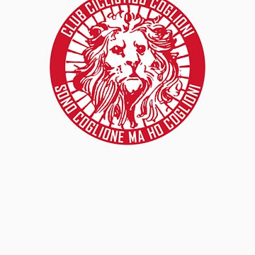 Club Ciclistico Coglioni: Monarch lion (red on white, small) by Babel