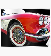 62 Corvette Red Poster
