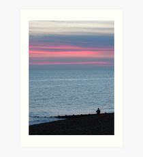Fisherman in Sunset Art Print
