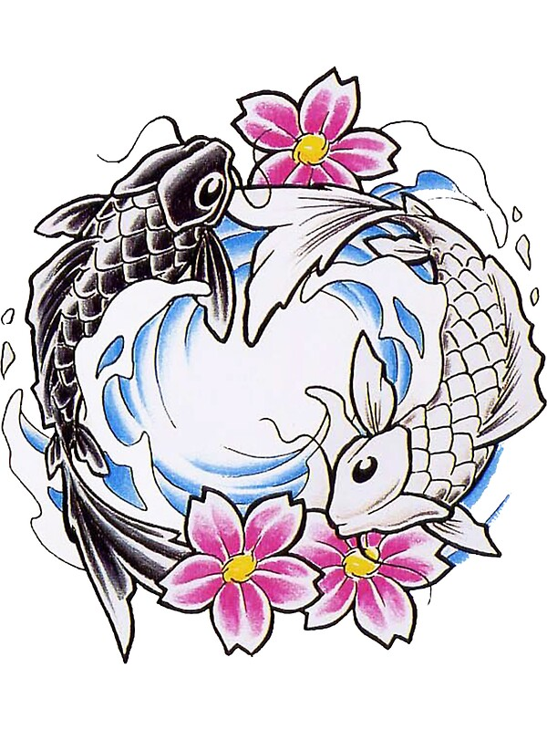 Yin yang chinese koi fish t shirt stickers by asiant for Coy poisson