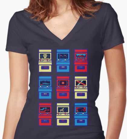 SCI-FI ARCADE Women's Fitted V-Neck T-Shirt