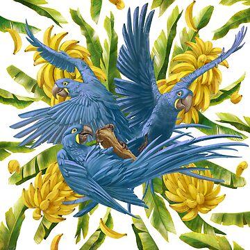 Hyacinth Macaws and Bananas Stravaganza by ikerpazstudio