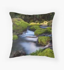 Omanawa river run moss rocks Throw Pillow