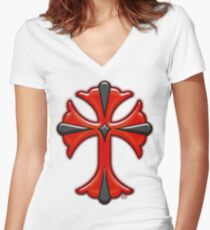 Victorian Design Red Cross Women's Fitted V-Neck T-Shirt